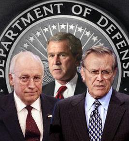 Photo of Bush, Cheney and Rumsfeld